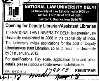 Deputy Librarian and Asstt Librarian (National Law University)