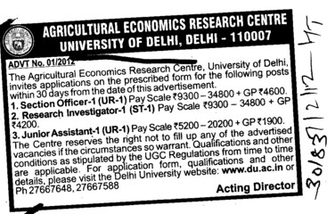 Section Officer and Junior Asstt etc (Delhi University)