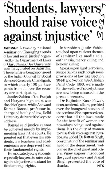Students, lawyers should raise voice against injustice (Guru Nanak Dev University (GNDU))