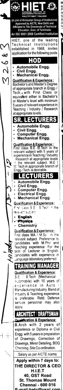 HOD, Sr Lecturer and Training Manager etc (Hindustan Institute of Engineering Technology (HIET))