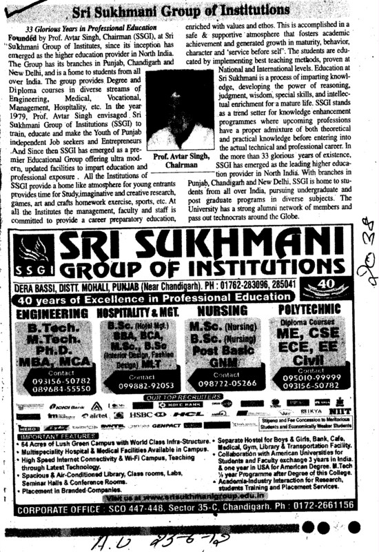 BTech, Mtech and MCA Courses etc (Sri Sukhmani Group of Institutes)