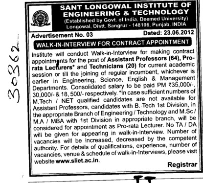 Asstt Professor and Lecturer etc (Sant Longowal Institute of Engineering and Technology SLIET)