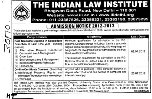 Post Graduate Diploma in Law (Indian Law Institute)