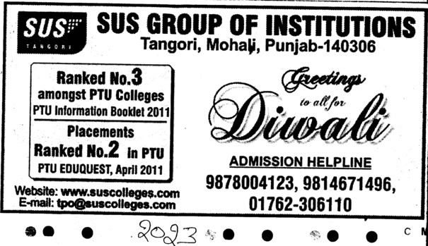 Greeting to all for Diwali (SUS Group of Institutions)