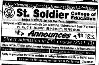 ETT Course 2012 (St Soldier College of Education)