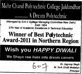 Wish you Happy Diwali (Mehr Chand Polytechnic College)