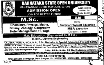 MSc, MBA and BPE Courses (Post Graduate Government College, Co-Educational (Sector 46))