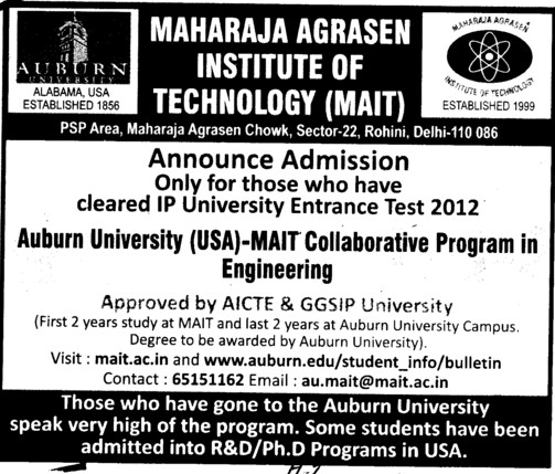 MAIT collaborative Program in Engg (Maharaja Agrasen Institute of Technology)