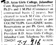 Asstt Professor on Contract basis (BD Arya Girls College)