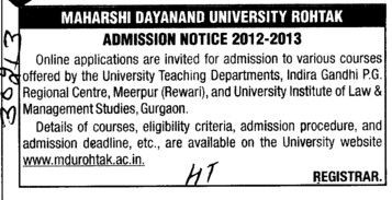 Various Courses (Maharshi Dayanand University)