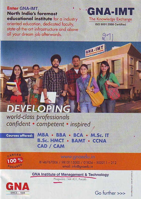 BBA, BCA, MBA and MSc IT Courses etc (GNA Institute of Management and Technology)