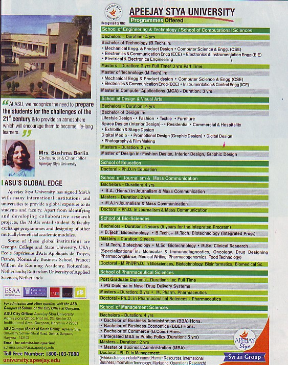 BA, MA, BSc and Mtech Courses etc (Apeejay Stya University)