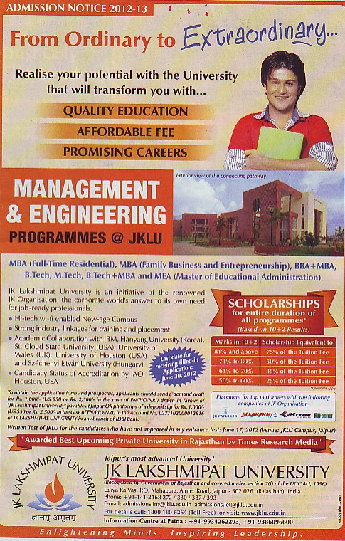 BA, MA, BSc and Mtech Courses etc (JK Lakshmipat University)