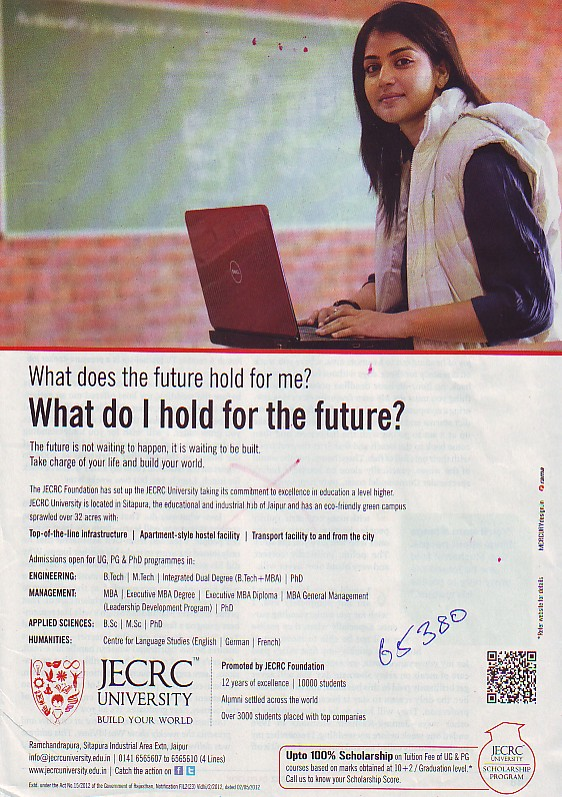 Btech, MTech, BSc and MSc Courses etc (JECRC University)