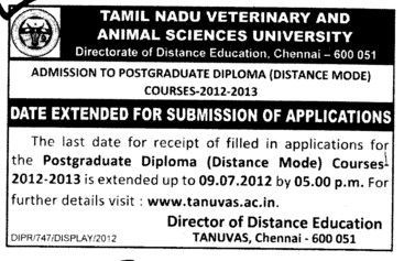 Post Graduate Diploma Course (Tamil Nadu Veterinary And Animal Sciences University TANUVAS)