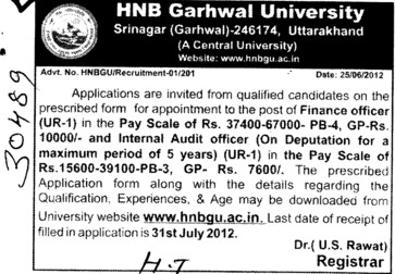 Finance Officer (Hemwati Nandan Bahuguna Garhwal University)
