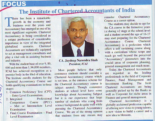 Message of President CA Jaydeep Narendra Shah (Institute of Chartered Accountants of India (ICAI))