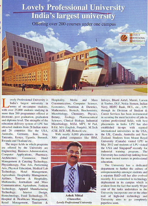 Message of Chancellor Ashok Mittal (Lovely Professional University LPU)