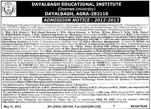 BA, MA and MSc Courses etc (Dayalbagh Educational Institute Deemed University)