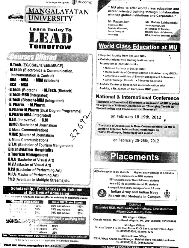 BTech, BBA, BCA, MBA and MTech Courses etc (Mangalayatan University)
