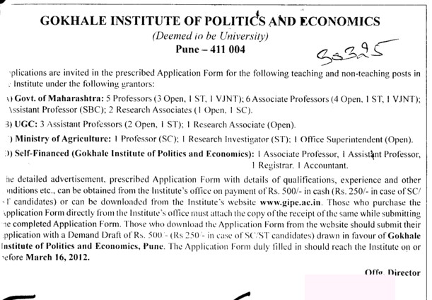 Prof, Asstt Prof and Associate Professor etc (Gokhale Institute of Politics and Economics GIPE)