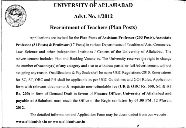 Prof, Asstt Prof and Associate Professor etc (University of Allahabad (UoA))