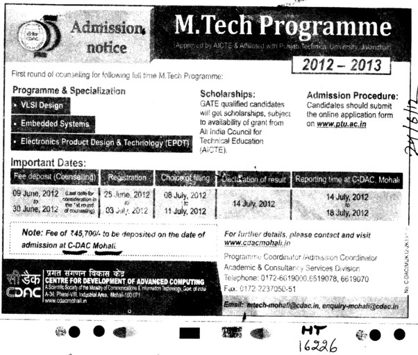 MTech Programmes 2012 (Centre for Development of Advanced Computing)