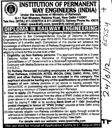 Diploma in Railway Engg (Institution of Permanent Way Engineers)