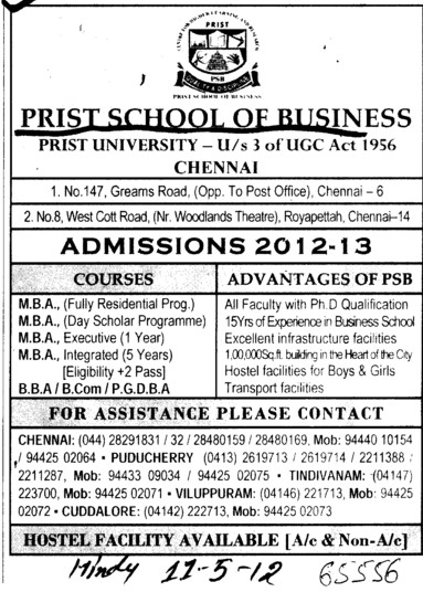 BBA, BCom and MBA etc (Prist School of Business)