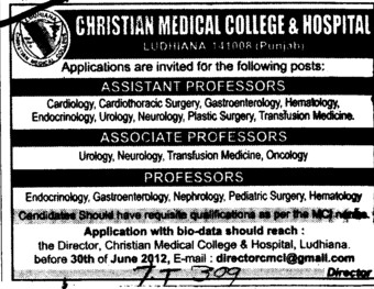 Prof, Asstt Prof and Associate Professor etc (Christian Medical College and Hospital (CMC))