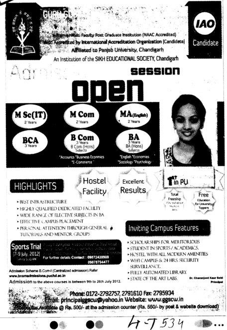 BCom, MCom, BA and MSc IT etc (Guru Gobind Singh College for Women Sector 26)