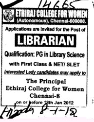 Librarian (Ethiraj College for Women Egmore)