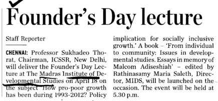 Founders Day lecture (Madras Institute of Development Studies (MIDS))