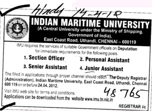 Section Officer and Junior Asstt etc (Indian Maritime University)