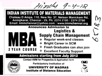 Two years MBA Course (Indian Institue of Materials Management)