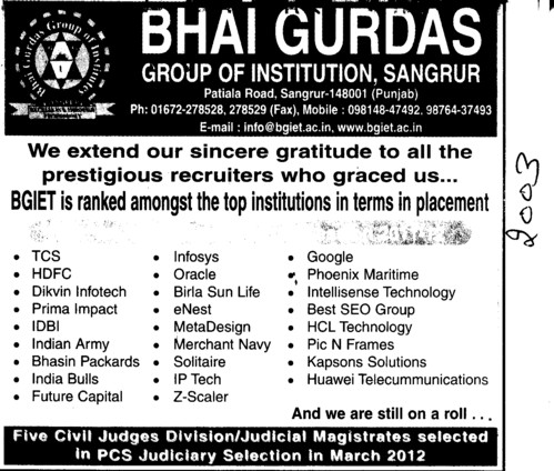BGIET is ranked amongest the top institutions in terms in placement (Bhai Gurdas Group of Institutions)