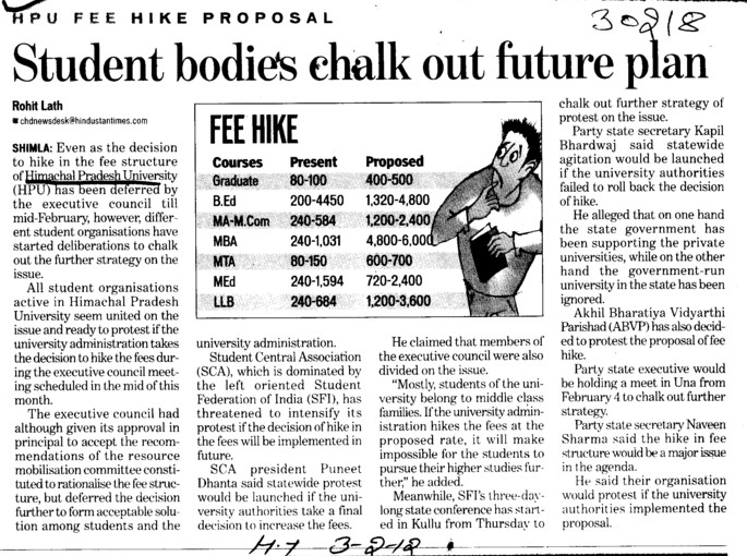 Student bodies chalk out future plan (Himachal Pradesh University)
