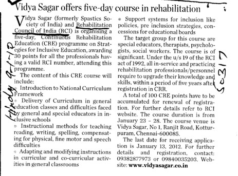 Vidya Sagar offers five day course in rehabiliation (Rehabilitation Council of India)