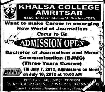 Bachelor of Journalism and Mass Communication (Khalsa College)