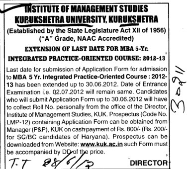 Five year MBA Integrated Course 2012 (Kurukshetra University)