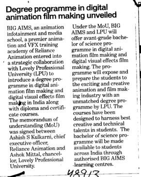 Degree Programme in digital animation film making unveiled (Swami Parmanand Group of Colleges)