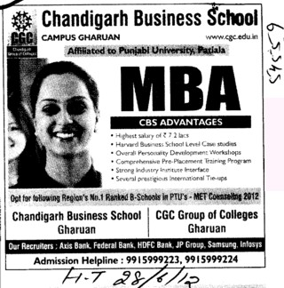 MBA Course 2012 (Chandigarh Business School)