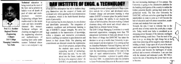 Message of Regional Director Prof C L Kochhar (DAV Institute of Engineering and Technology DAVIET)