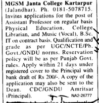 Asstt Professor on regular basisa (MGSM Janta College)