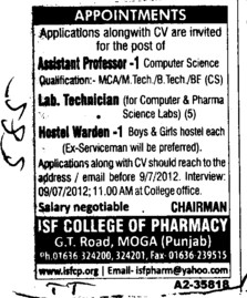 Asstt Professor, Lab Technician and Hostel Warden (ISF College of Pharmacy)
