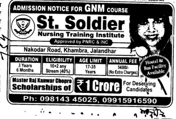 GNM Course (St Soldier Nursing Training Institute)