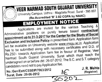 Administrative Positions (Veer Narmad South Gujarat University)
