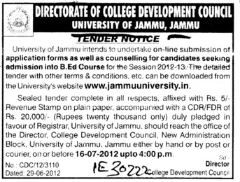 Application forms as well as counselling for candidates seeking admission into BEd Course (Jammu University)