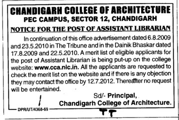 Asstt Librarian (Chandigarh College of Architecture)