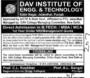 BTech, MBA and MCA Courses (DAV Institute of Engineering and Technology DAVIET)